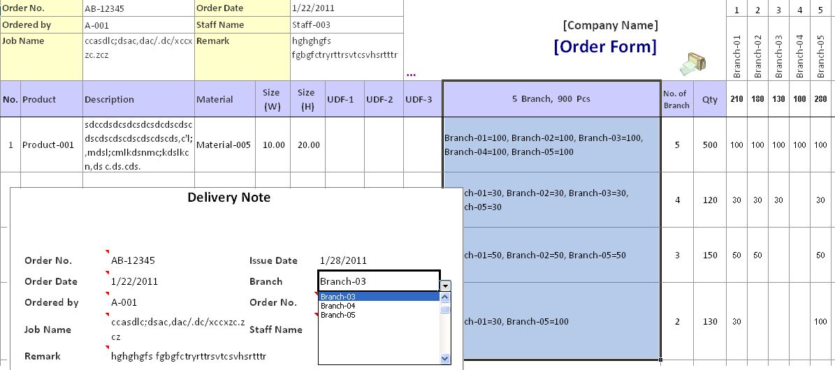Production Scheduling Template. Automated Delivery Orders ...  Delivery Order Form Template
