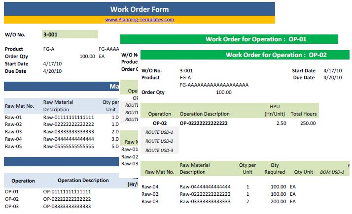 Sample Work Order Form Images